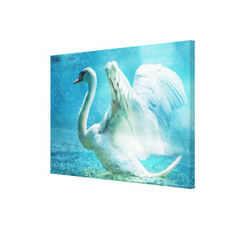 Cisne mágico durante una ducha del verano impresión en lienzo