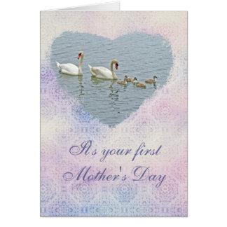 Cisne mudo Famly del día de madre Tarjeton