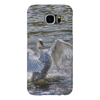 Cisne mudo Preening en aguas Sunlit del lago Fundas Samsung Galaxy S6