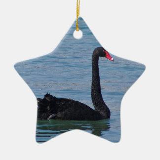 Cisne negro adorno navideño de cerámica en forma de estrella