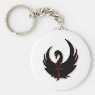 Cisne negro con Ankh Llavero Redondo Tipo Pin