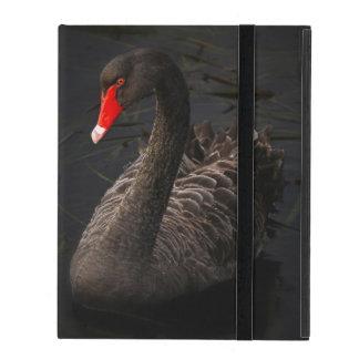 Cisne negro hermoso con un pico rojo brillante iPad carcasas