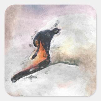 Cisne Pegatina Cuadrada