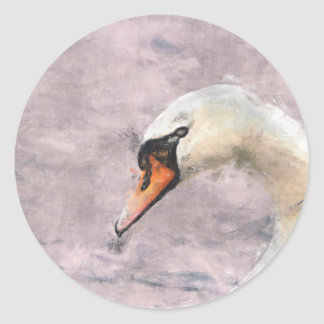 Cisne Pegatina Redonda