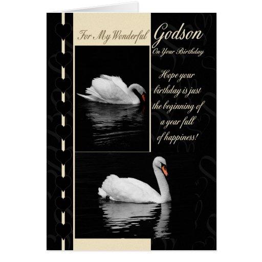 Cisnes de la tarjeta de cumpleaños del ahijado