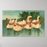 Cisnes de la tarjeta del día de San Valentín del v Póster
