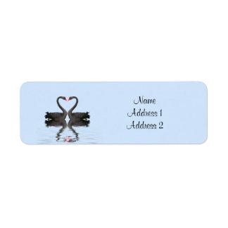 Cisnes de Romancing de la etiqueta del remite que Etiqueta De Remite