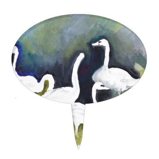 Cisnes de trompetista en el valle de Skagit Decoraciones Para Tartas