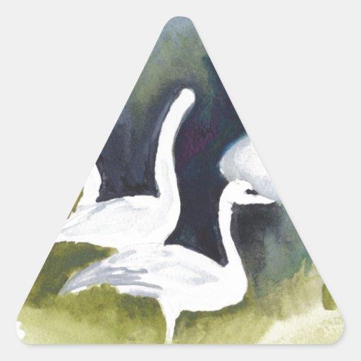Cisnes de trompetista en el valle de Skagit Calcomania Trianguloada