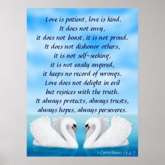 Cisnes del amor 1 impresión de los Corinthians 13 Posters
