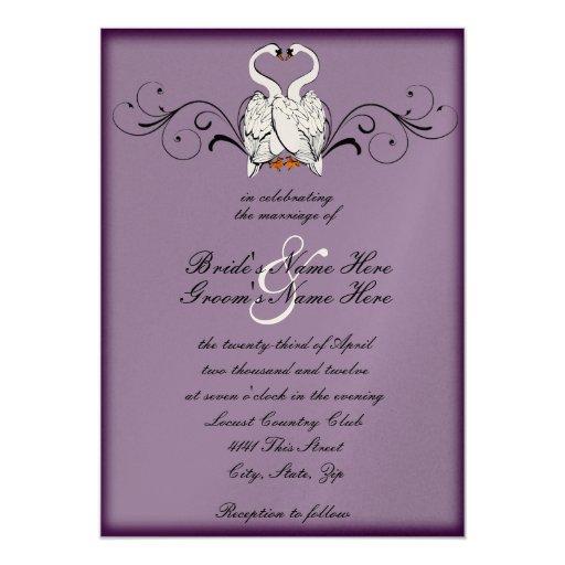 Cisnes del amor que casan la invitación