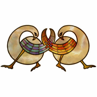 Cisnes del celtic del vitral fotoescultura vertical