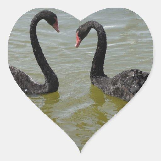 Cisnes en amor pegatina en forma de corazón