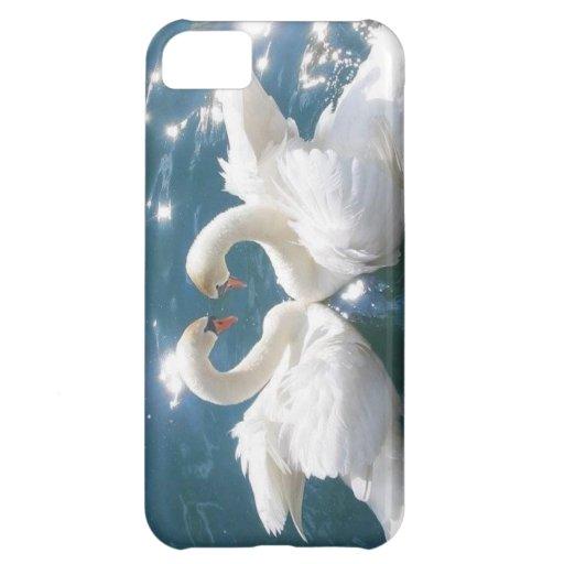 Cisnes en caso del teléfono de Iphone 5 del amor Funda Para iPhone 5C