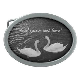Cisnes gemelos hebillas cinturon ovales