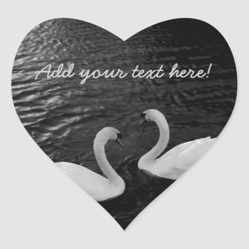 Cisnes gemelos pegatina en forma de corazón