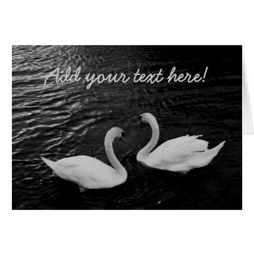 Cisnes gemelos tarjeta de felicitación