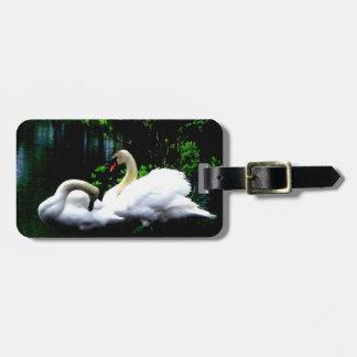 Cisnes mudos blancos de encargo etiquetas para maletas