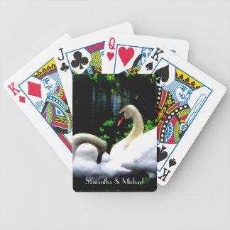 Cisnes mudos blancos personalizados baraja cartas de poker