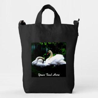 Cisnes mudos blancos personalizados bolsa de lona duck