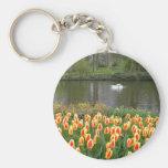 Cisnes por un lago con los tulipanes, Keukenhof Llavero Personalizado