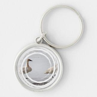 Cisnes que preparan en el borde del agua llavero personalizado