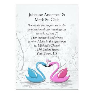 """Cisnes que se besan azules rosados que casan la invitación 5.5"""" x 7.5"""""""