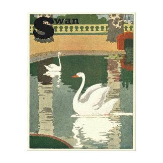 Cisnes reflejados en el agua impresiones en lienzo estiradas