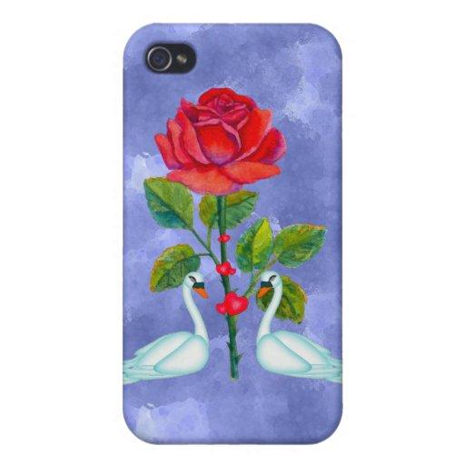 Cisnes románticos de la tarjeta del día de San Val iPhone 4/4S Carcasas