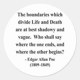 Cita 10a de Edgar Allen Poe Etiquetas Redondas