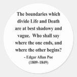 Cita 10a de Edgar Allen Poe Pegatina Redonda