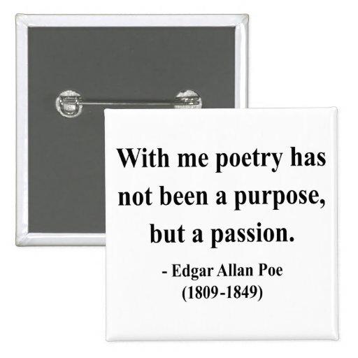 Cita 11a de Edgar Allen Poe Pin Cuadrado