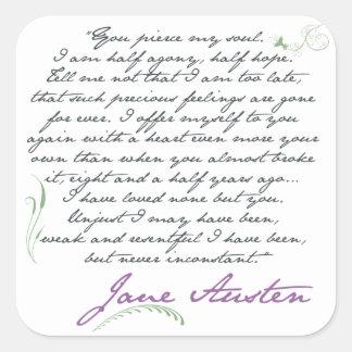 Cita #1 de la persuasión de Jane Austen Pegatina Cuadrada
