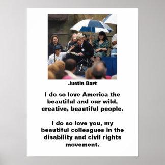 Cita 1 del dardo de Justin Póster