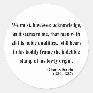 Cita 1a de Charles Darwin Pegatina Redonda