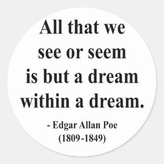Cita 1a de Edgar Allen Poe Etiqueta Redonda
