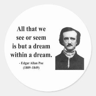 Cita 1b de Edgar Allen Poe Etiquetas Redondas