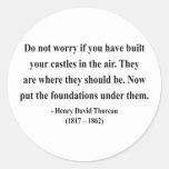 Cita 2a de Thoreau Pegatina Redonda