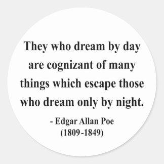 Cita 3a de Edgar Allen Poe Etiqueta Redonda