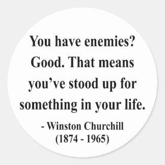 Cita 3a de Winston Churchill Pegatina Redonda