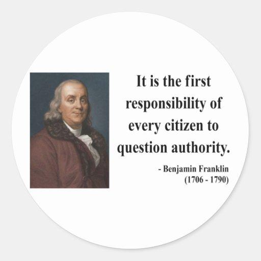 Cita 3b de Ben Franklin Etiquetas Redondas