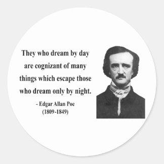 Cita 3b de Edgar Allen Poe Pegatina Redonda
