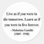 Cita 4a de Gandhi Pegatina Redonda