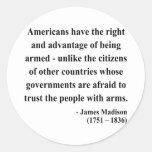 Cita 4a de James Madison Pegatina Redonda