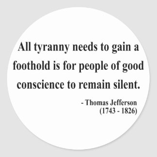 Cita 4a de Thomas Jefferson Etiquetas Redondas