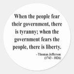 Cita 5a de Thomas Jefferson Pegatina Redonda