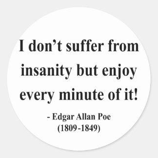 Cita 6a de Edgar Allen Poe Etiqueta Redonda