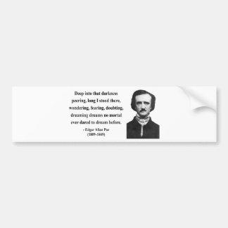 Cita 8b de Edgar Allen Poe Pegatina Para Auto