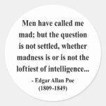 Cita 9a de Edgar Allen Poe Pegatina Redonda