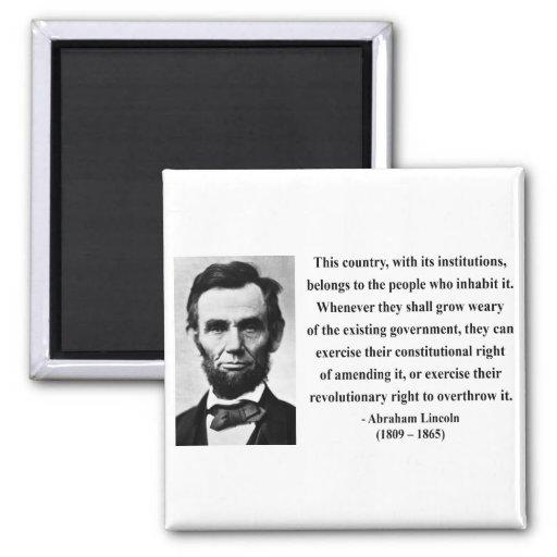 Cita 9b de Abraham Lincoln Imán Cuadrado